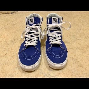 Sz 8 Vans sk8 high checkered blue and yellow